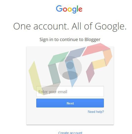 Login/Create Account on Blogger.com
